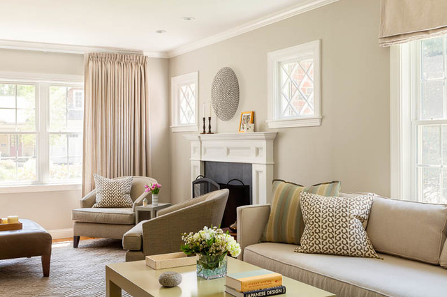 Simply Taupe Transitional Living Room Boston By