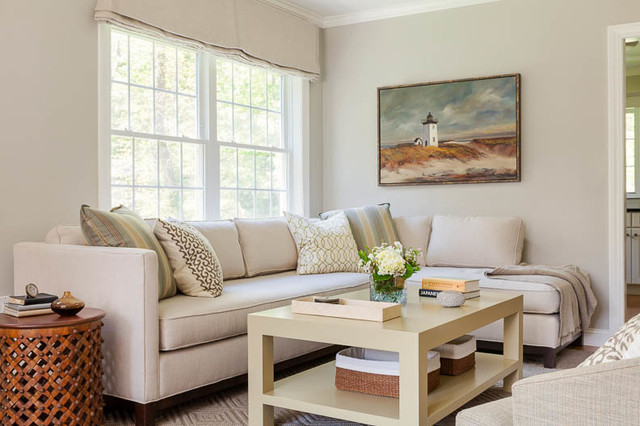 Simply Taupe Transitional Living Room