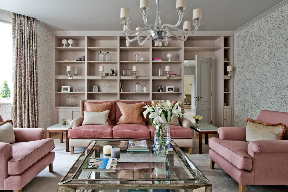 Inspiration for a large contemporary enclosed and formal living room remodel in Gloucestershire with multicolored walls