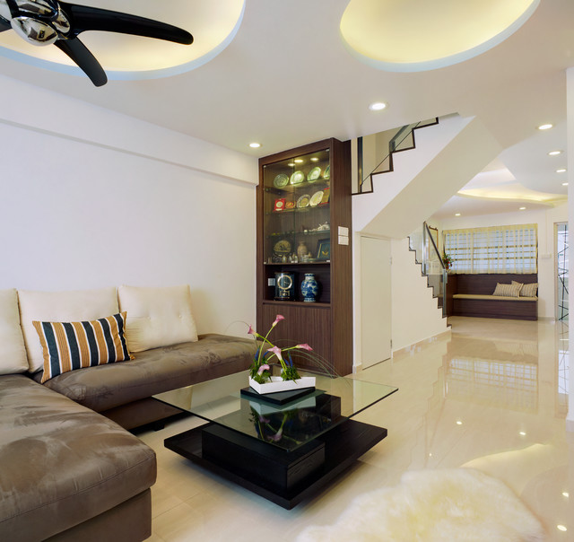 Singapore modern zen geomancy hdb exec maisonette for Living room interior design singapore