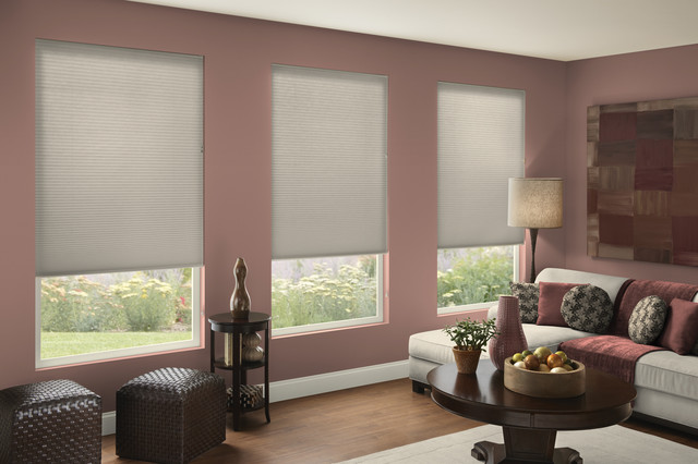single cell light filtering shades in gray mauve room