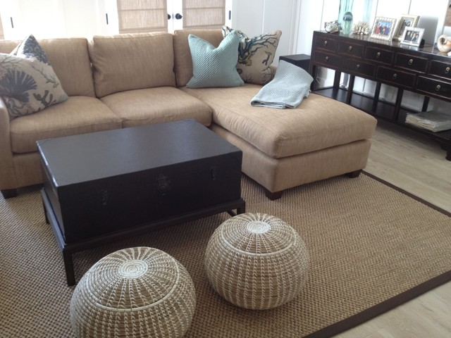 Sisal Area Rug - Brown Microfiber Binding - Traditional - Living ...
