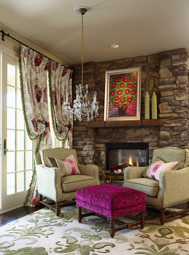 Living room - eclectic living room idea in Minneapolis with a standard fireplace
