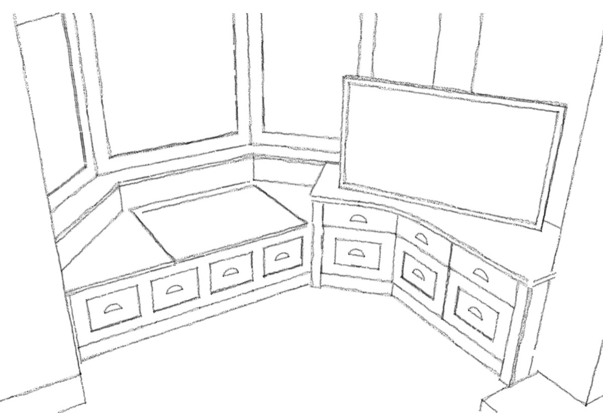 Sketch Drawing Example for Alcove Cupboard and Window Seat