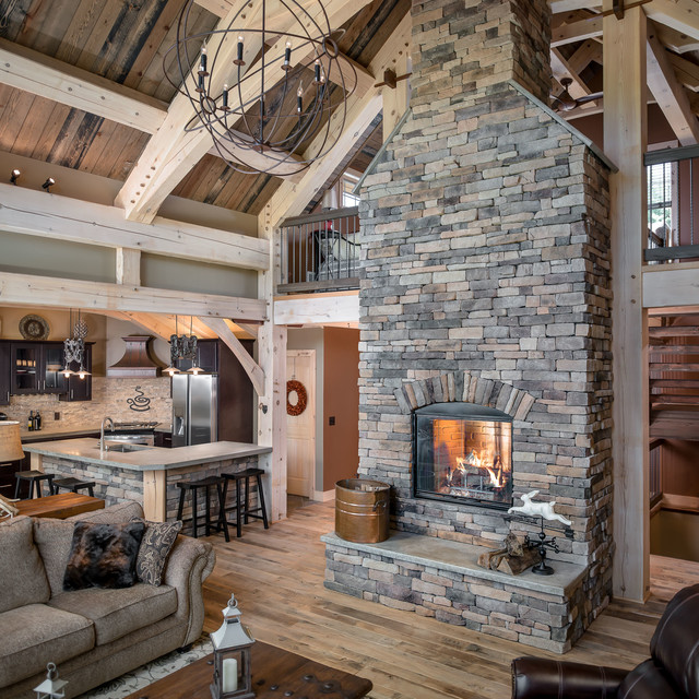 Country Rustic Living Room: Ski Country Timberframe