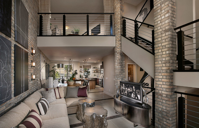 Sky loft thin brick interior contemporary living room for Modern brick veneer