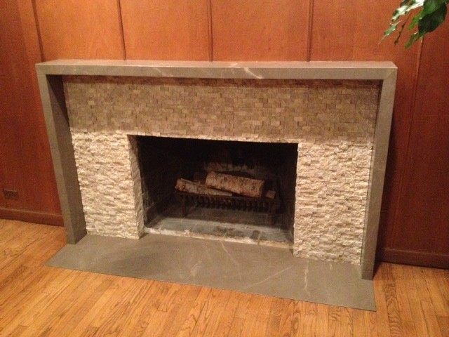 Slab And Tile Fireplace Surround Contemporary Living