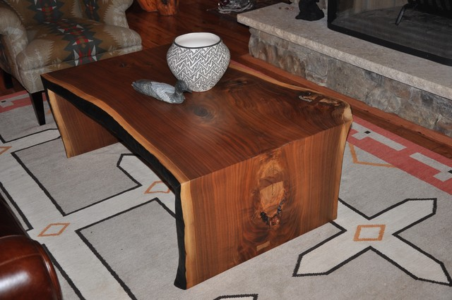 Slab walnut Coffee Table eclectic-living-room
