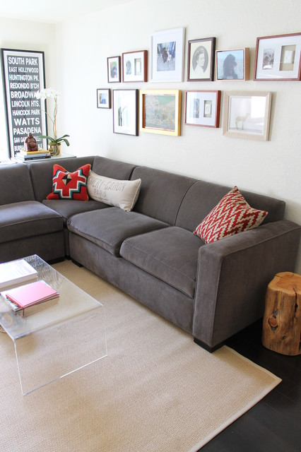 Slate Gray Sectional With Eclectic Woven And Embroidered Pillows Eclectic Living Room Los