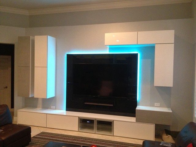 Sleek ultra modern entertainment center modern living room miami by superior kitchens - Ultra modern living room ...