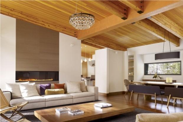 Sleek Built In Fireplace Design Modern Living Room
