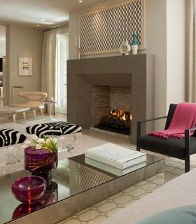 sleek fireplace design - contemporary - living room - san
