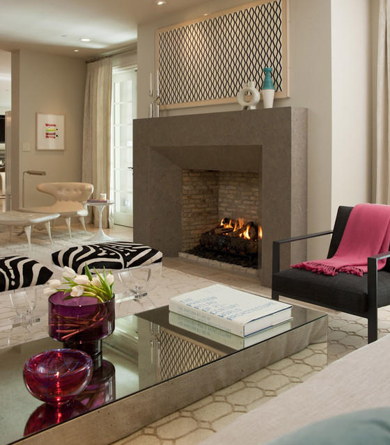 Sleek fireplace design contemporary living room san for Sleek living room
