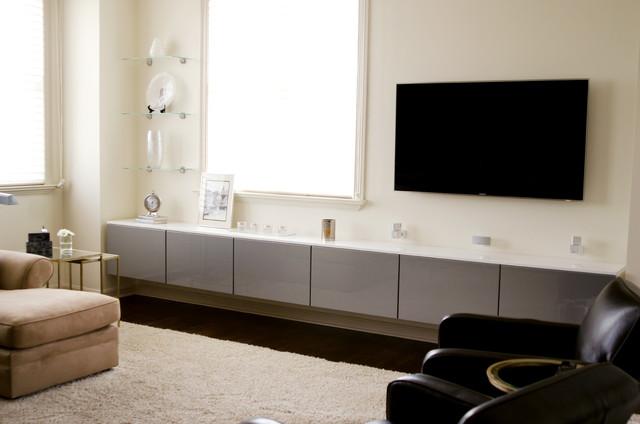 Sleek Media Center Storage Contemporary Living Room