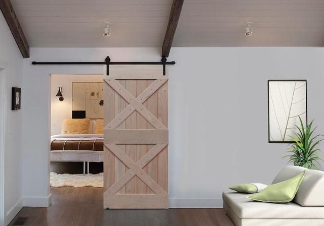Sliding barn doors double x barn door 6 8 tall for Sliding barn door living room