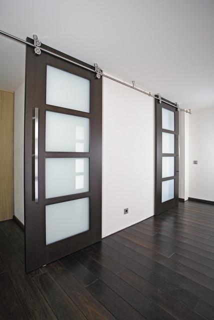 "Wood Sliding Doors - ""Twin"" - Modern - Living Room - miami - by Bartels Doors & Hardware"
