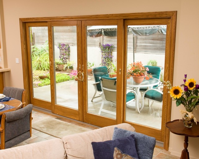 sliding patio doors traditional living room