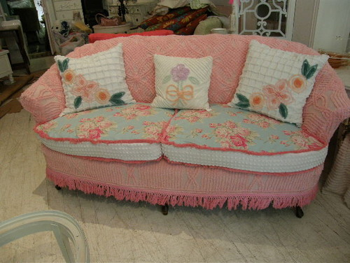 slipcovered sofa vintage chenille and roses fabrics  living room