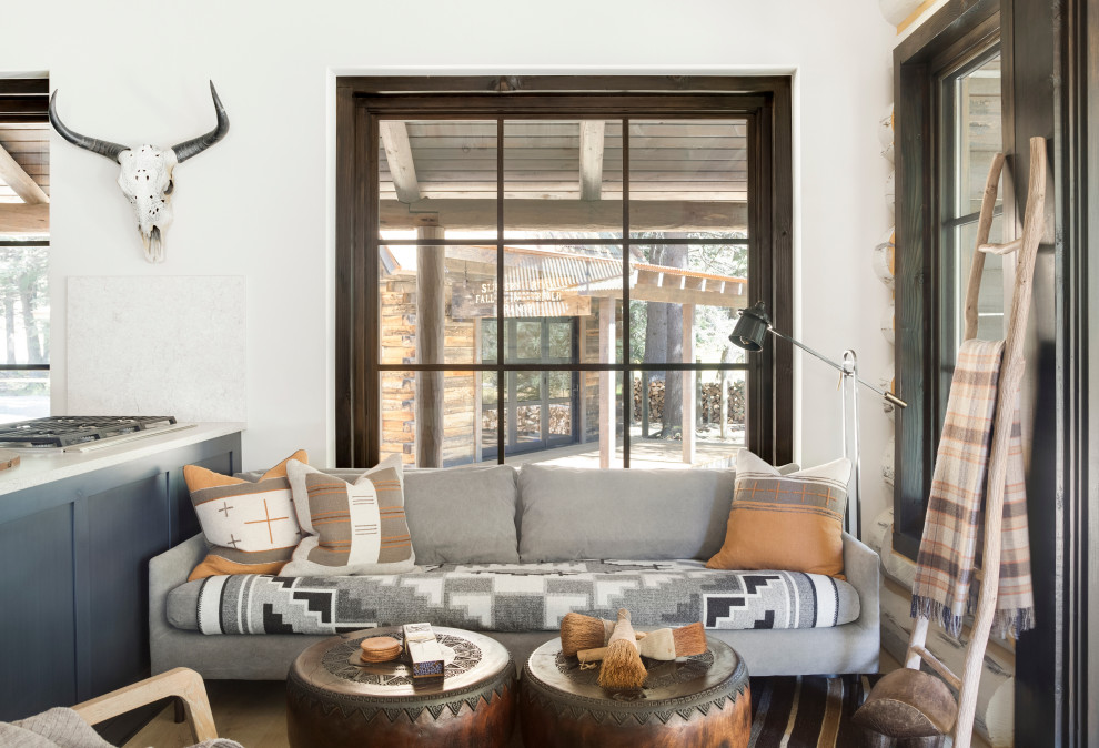 Living room - rustic living room idea in Other