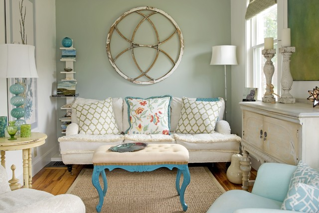 Small Coastal Home Eclectic Living Room