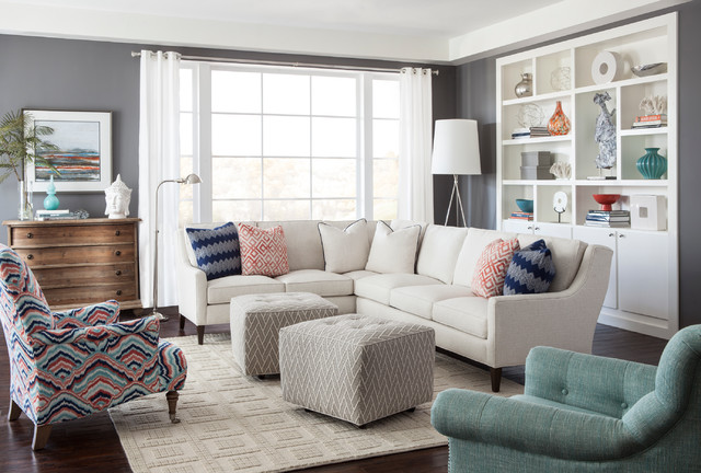 Small transitional dark wood floor living room photo in Charlotte with gray walls