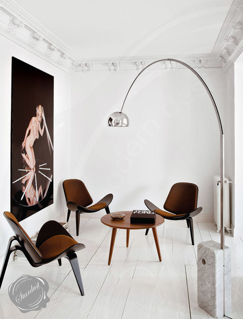 small modern living room design with wegner ch07 shell chairs and flos arco lamp modern. Black Bedroom Furniture Sets. Home Design Ideas