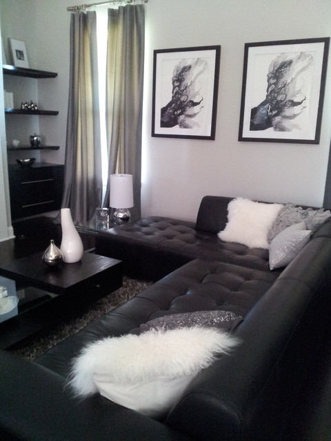 Small Modern space in Black and white modern-living-room