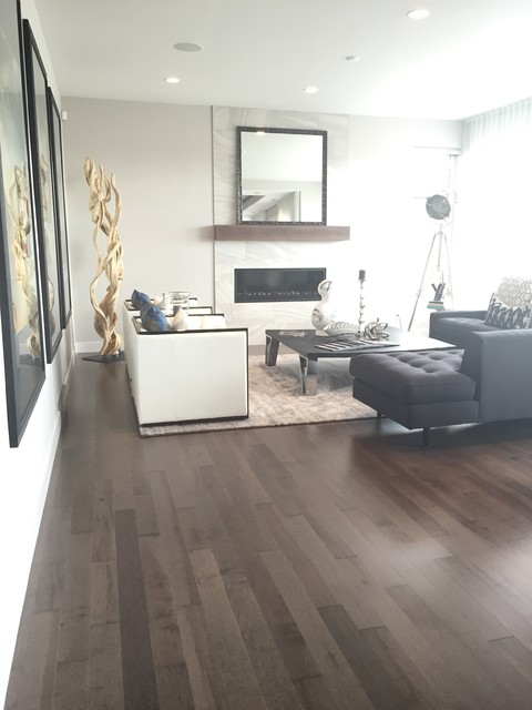 Smoky Grey Hardwood Floor Living Room Contemporary