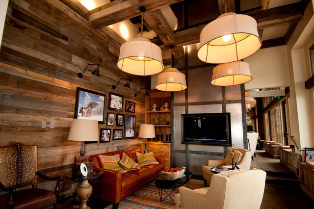 Smooth Barnwood Mix Wall Paneling Rustic Living Room