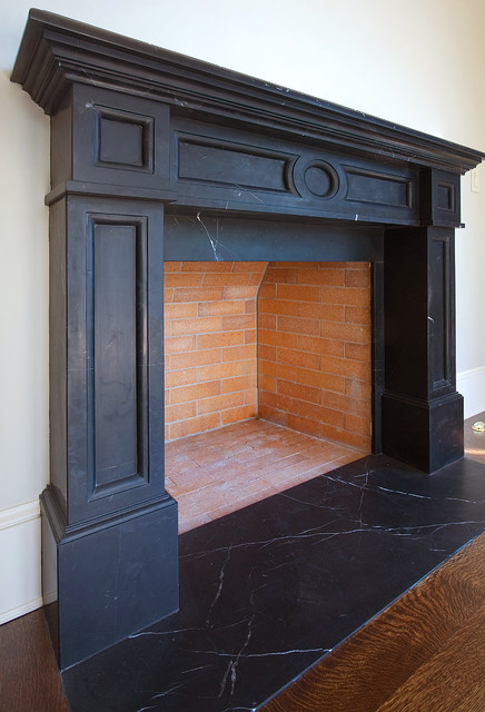 Soapstone fireplace craftsman indoor fireplaces for Craftsman fireplaces photos