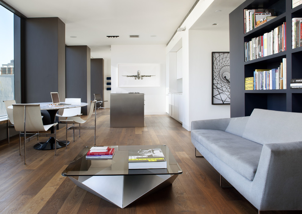 Example of a minimalist living room design in San Francisco with white walls