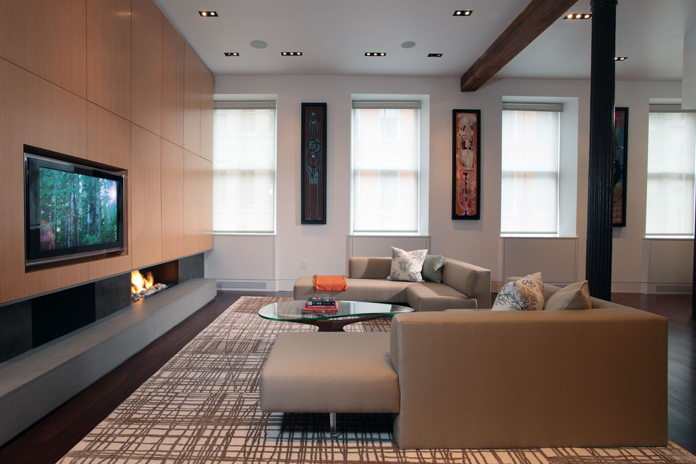 Living room - contemporary open concept living room idea in New York with a ribbon fireplace and a media wall