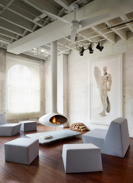 soho penthouse industrial living room