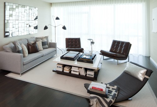 A natural fiber rug in a modern living room
