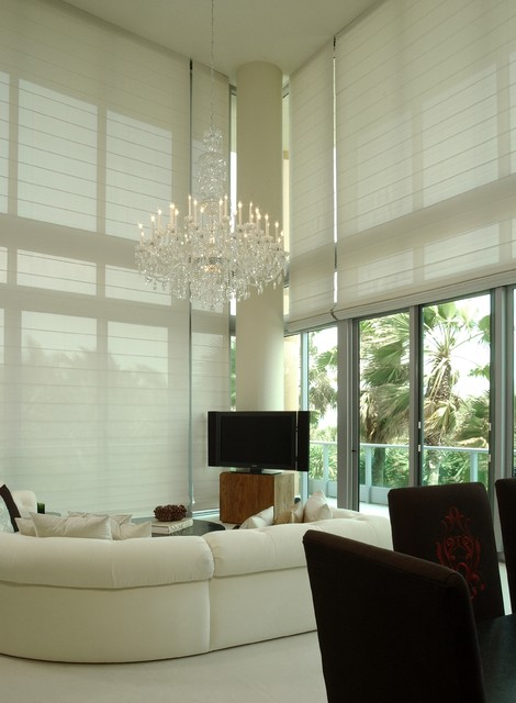 Solarweave Roman Shades Contemporary Living Room