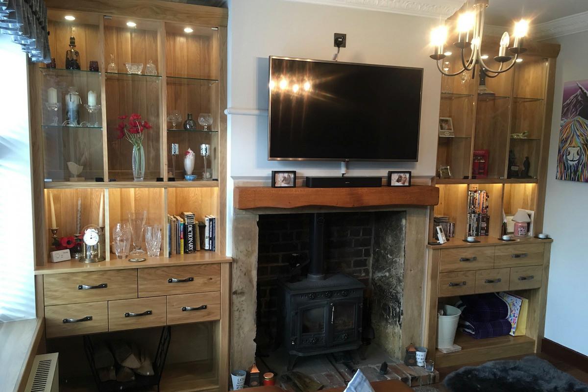 Solid Oak Alcove Display Storage Units