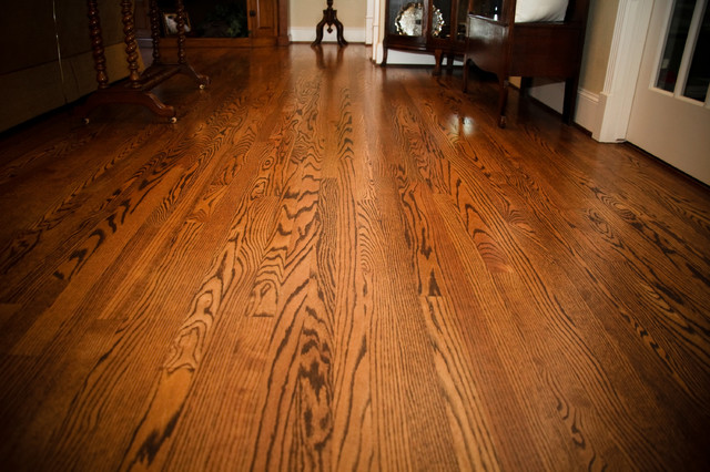 Solid red oak flooring stained spice brown