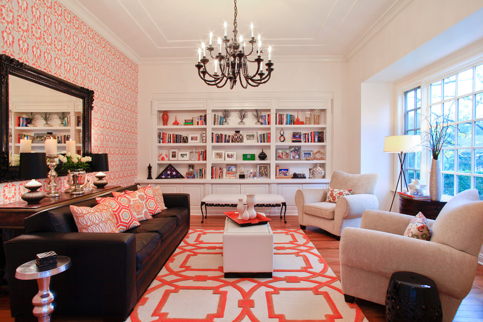 Living room - transitional medium tone wood floor and brown floor living room idea in Orange County with white walls