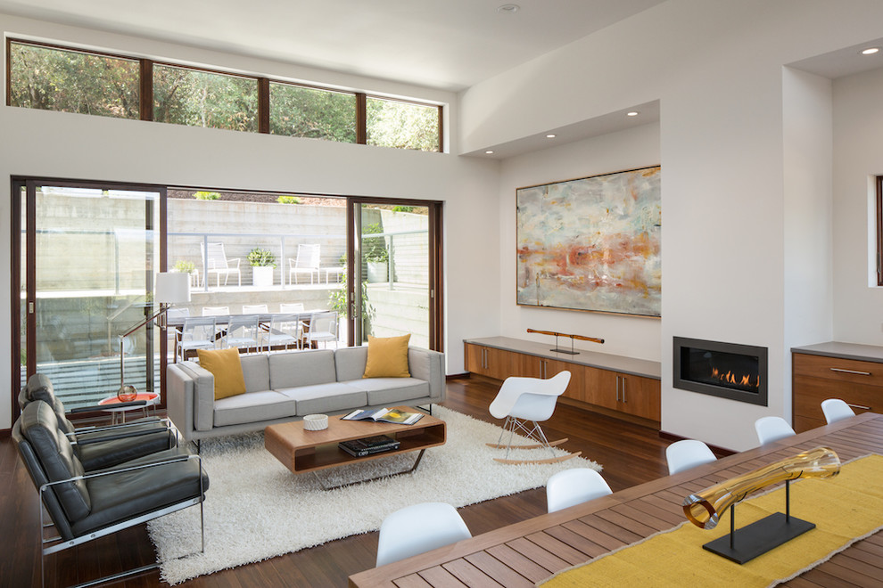 Example of a large minimalist open concept medium tone wood floor living room design in San Francisco with white walls, a ribbon fireplace and a plaster fireplace