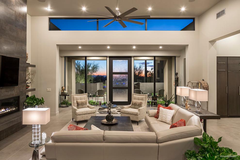 Example of a trendy living room design in Phoenix