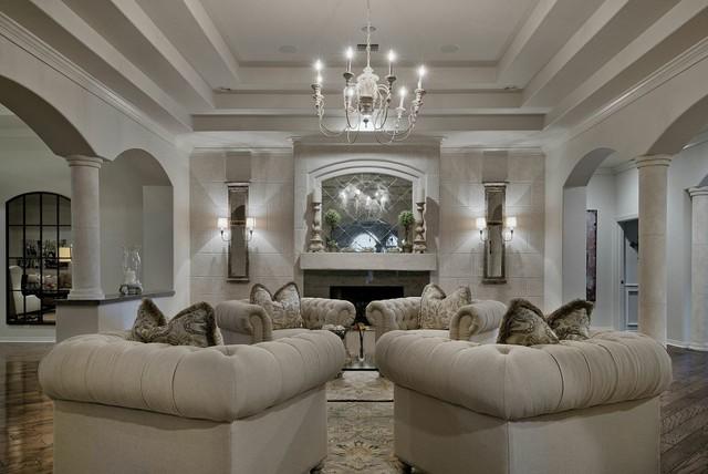 Sonterra whole house remodel transitional living room austin