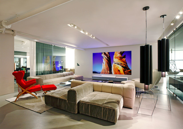Sony 4K Ultra Short Throw Projector At Ddc NY Modern Living Room