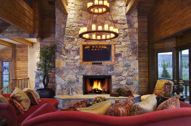 Sophisticated Cabin Living Room - Eclectic - Living Room ...