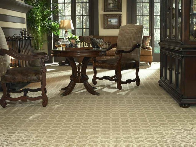 Sophisticated den with patterned carpet traditional for 8x8 living room ideas