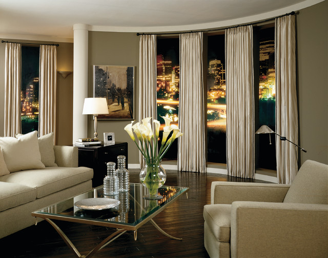 Sophisticated style for Contemporary window treatments for living room