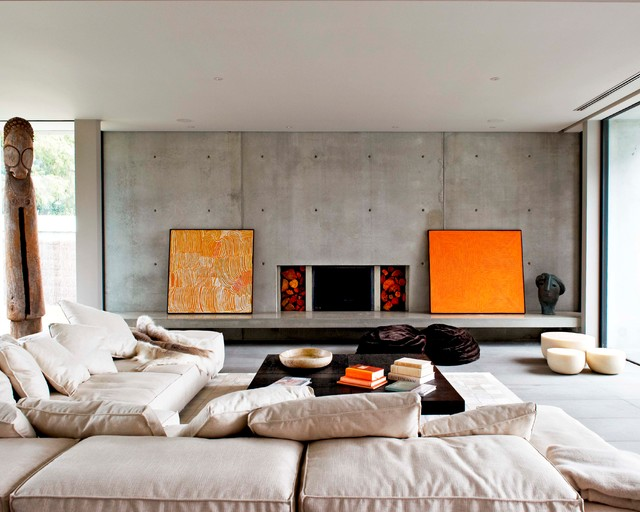 Trendy Formal Living Room Photo In Melbourne With A Concrete Fireplace, No  Tv And A