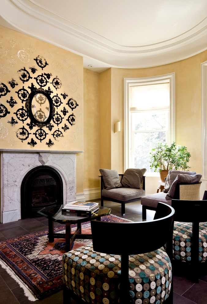 Example of a trendy living room design in Boston with yellow walls