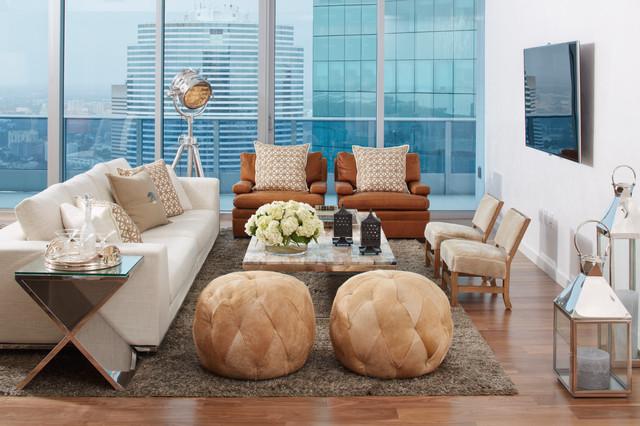 South Florida Condo Chic Contemporary Living Room