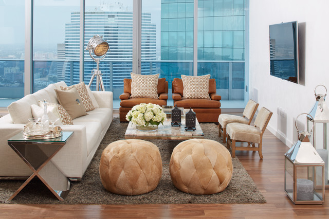 South Florida Condo Chic Contemporary Living Room