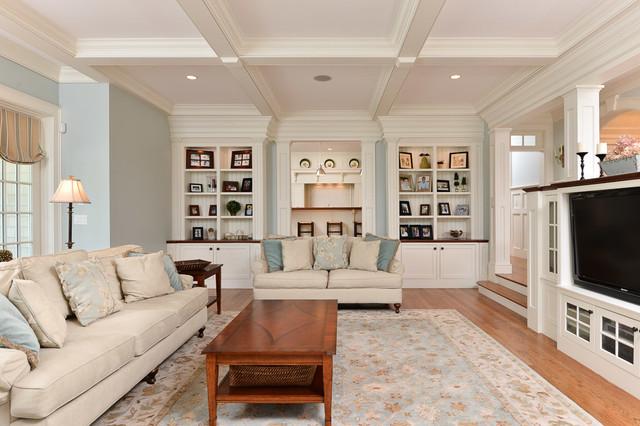 South shore shingle style traditional living room for Living room jb